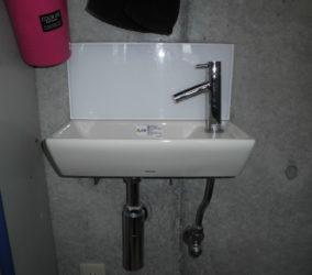 理容室 手洗い器取替え・カーテンレール取付け工事