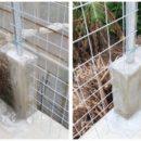 コンクリート打設とフェンスの設置